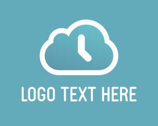 Weather - Cloud Clock logo design