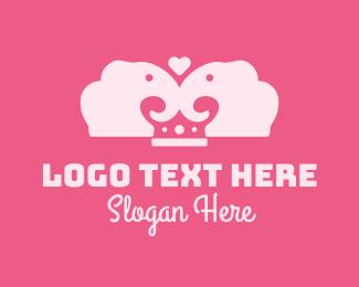 Matrimonial - Lovely Elephant Crown  logo design