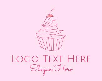 Delicious - Pink Cherry Cupcake logo design