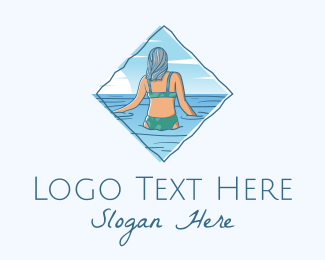 Waters - Summer Beach Woman logo design