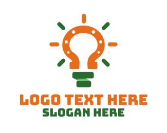 Lucky - Horseshoe Light Bulb logo design