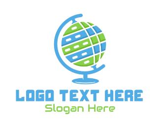 Overseas - Tech World Globe logo design
