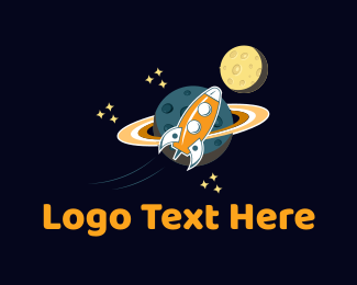 Saturn - Space Rocket  logo design