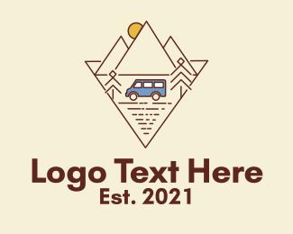 Road Trip - Mountain Trailer Van logo design