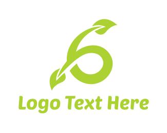 Six - Green Vine Six logo design