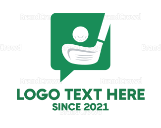Hole - Green Golf Chat logo design