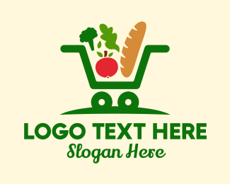 Online Market - Grocery Shopping Cart  logo design