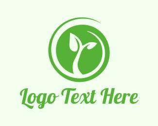 Vegetarian - Eco Circle Leaves logo design