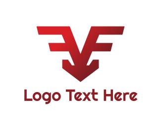 Egames - V Red Wing Symbol logo design