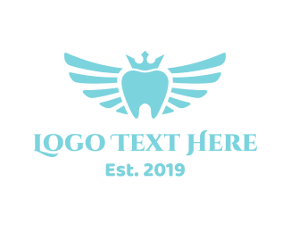 Blue Tooth - Royal Winged Tooth logo design