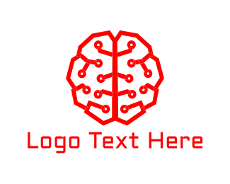 Electronic - Artificial Intelligence Brain logo design