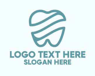 Dental - Blue Tooth Waves logo design