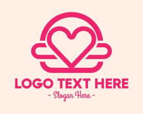 Burger - Pink Burger Love Heart logo design