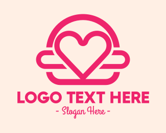 Love Heart - Pink Burger Love Heart logo design