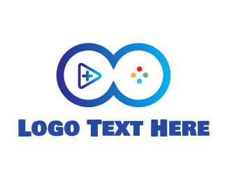 Joystick - Blue Video Game Buttons logo design