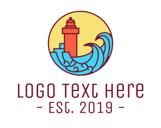 Surfing - Seaside Lighthouse logo design