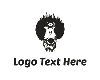 Ape - Black Orangutan  logo design