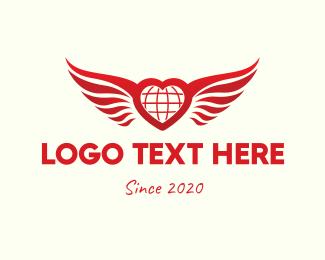 Cupid - Red Heart Wings logo design