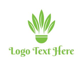 Shuttlecock - Green Shuttlecock logo design