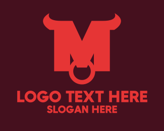 Piercing - Red Buffalo Horns logo design
