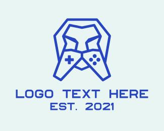 Twitch - Lion Geometric Controller logo design