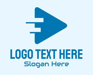 Symphony - Blue Play Button logo design
