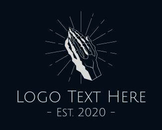 Chiropractor - Gray Skeleton Hand logo design