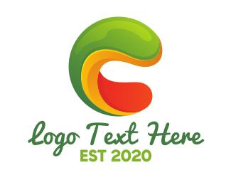 Worm - Elastic Letter C logo design