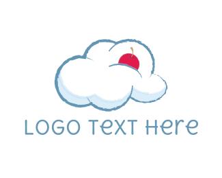 Fluffy - Cloud & Cherry logo design