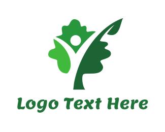 Sauna - Green Tree Person logo design