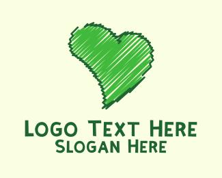 Brushstroke - Green Love logo design