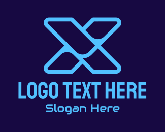 Technology - Blue Tech Letter X logo design