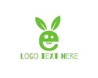 Letter E - Green Rabbit logo design