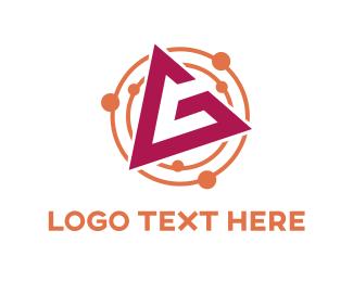 Atom - Pink Letter G logo design