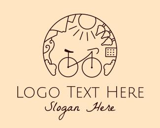 Pedaling - Bike Tour Monoline logo design