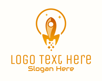 Night Time - Starry Rocket Ship logo design