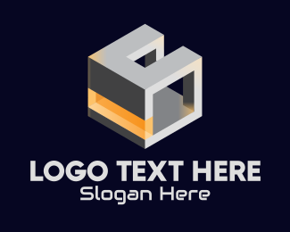 Orange Box - 3D Metallic Cube logo design