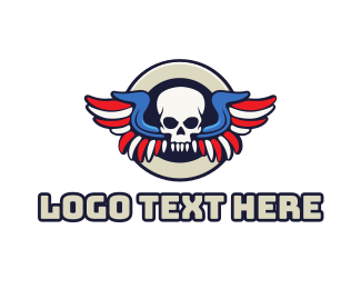 Michigan - Patriotic Skull Wing logo design