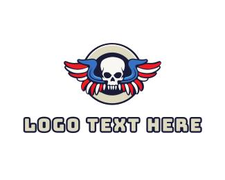 Corps - Patriotic Skull Wing logo design