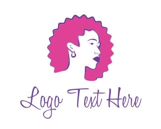Lipstick - Curly Pink Hair logo design