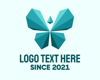 Diamonds - Geometric Blue Butterfly logo design
