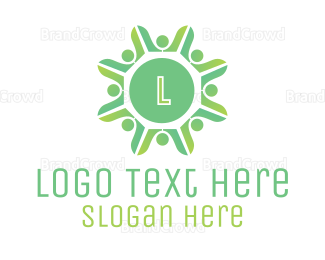 Crowdsourcing - Green Radial Crowd logo design