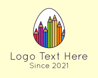 Color - Coloring Pencil Egg logo design