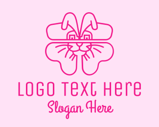Easter Bunny - Pink Bunny Clover  logo design