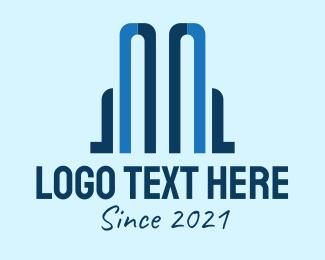 Building Maintenance - Blue Building Realtor logo design