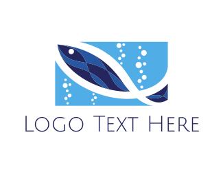 Fish Market - Blue Aquarium  logo design