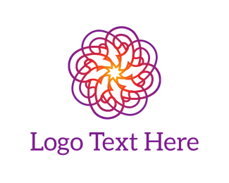 Typography - Purple Psychedelic Flower logo design