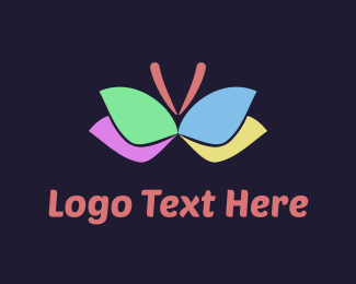 Yellow Insect - Colorful Butterfly logo design