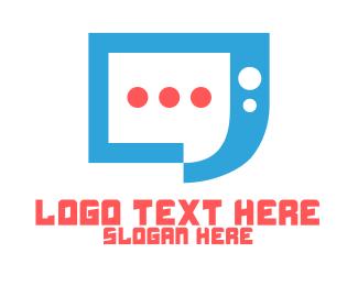 Social Media - Blue Modern Chat App logo design