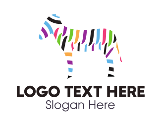 Donkey - Colorful Zebra logo design